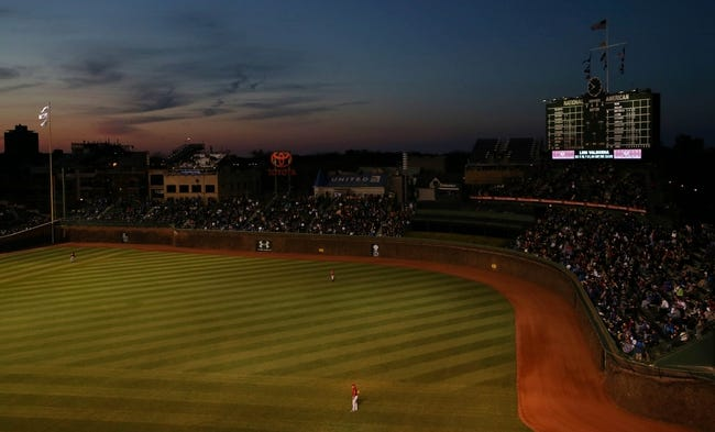 Apr 22, 2014; Chicago, IL, USA; A general view of the outfield and scoreboard during the third inning of a game between the Chicago Cubs and Arizona Diamondbacks at Wrigley Field. Mandatory Credit: Jerry Lai-USA TODAY Sports