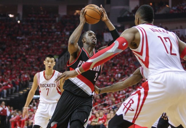 Apr 20, 2014; Houston, TX, USA; Portland Trail Blazers guard Wesley Matthews (2) drives to the basket during the second quarter against the Houston Rockets in game one during the first round of the 2014 NBA Playoffs at Toyota Center. Mandatory Credit: Troy Taormina-USA TODAY Sports