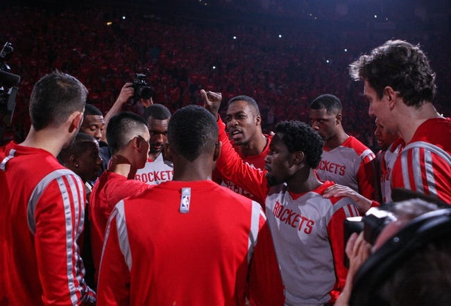 Apr 20, 2014; Houston, TX, USA; Members of the Houston Rockets huddle before game one against the Portland Trail Blazers during the first round of the 2014 NBA Playoffs at Toyota Center. Mandatory Credit: Troy Taormina-USA TODAY Sports
