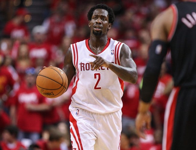 Apr 20, 2014; Houston, TX, USA; Houston Rockets guard Patrick Beverley (2) brings the ball up the court during the third quarter against the Portland Trail Blazers in game one during the first round of the 2014 NBA Playoffs at Toyota Center. Mandatory Credit: Troy Taormina-USA TODAY Sports