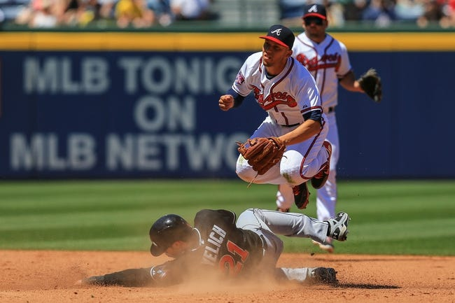 Apr 23, 2014; Atlanta, GA, USA; Atlanta Braves shortstop Andrelton Simmons (19) attempts to turn a double play over Miami Marlins left fielder Christian Yelich (21) in the eighth inning at Turner Field. Mandatory Credit: Daniel Shirey-USA TODAY Sports