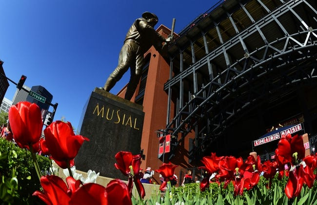 Apr 25, 2014; St. Louis, MO, USA; A general view of the Stan Musial statue before a game between the St. Louis Cardinals and the Pittsburgh Pirates at Busch Stadium. Mandatory Credit: Jeff Curry-USA TODAY Sports