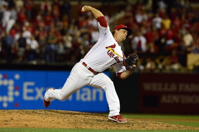 Apr 25, 2014; St. Louis, MO, USA; St. Louis Cardinals relief pitcher Trevor Rosenthal (26) throws to a Pittsburgh Pirates batter during the ninth inning at Busch Stadium. St. Louis defeated Pittsburgh 1-0. Mandatory Credit: Jeff Curry-USA TODAY Sports