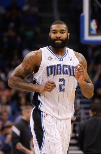 Apr 9, 2014; Orlando, FL, USA; Orlando Magic forward Kyle O'Quinn (2) against the Brooklyn Nets during the second half at Amway Center. Orlando Magic defeated the Brooklyn Nets 115-111. Mandatory Credit: Kim Klement-USA TODAY Sports
