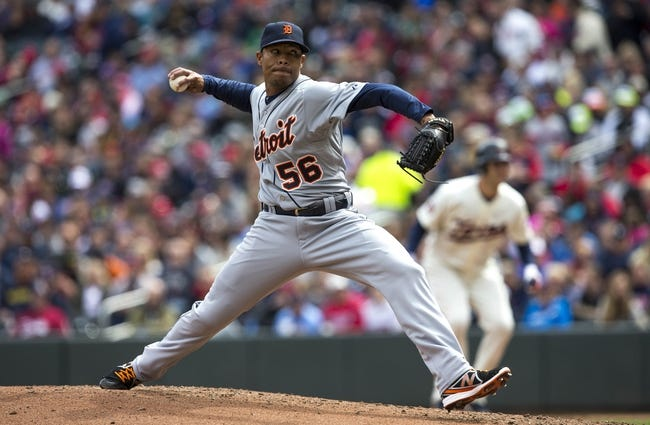 Apr 26, 2014; Minneapolis, MN, USA; Detroit Tigers relief pitcher Jose Ortega (56) delivers a pitch in the fourth inning against the Minnesota Twins at Target Field. Mandatory Credit: Jesse Johnson-USA TODAY Sports