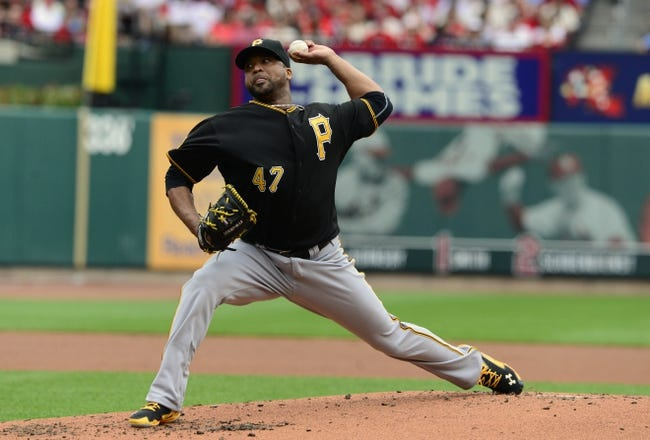 Apr 26, 2014; St. Louis, MO, USA; Pittsburgh Pirates starting pitcher Francisco Liriano (47) throws to a St. Louis Cardinals batter during the first inning at Busch Stadium. Mandatory Credit: Jeff Curry-USA TODAY Sports