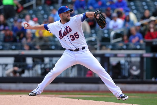 Apr 27, 2014; New York, NY, USA; New York Mets starting pitcher Dillon Gee (35) pitches against the Miami Marlins during the first inning of a game at Citi Field. Mandatory Credit: Brad Penner-USA TODAY Sports
