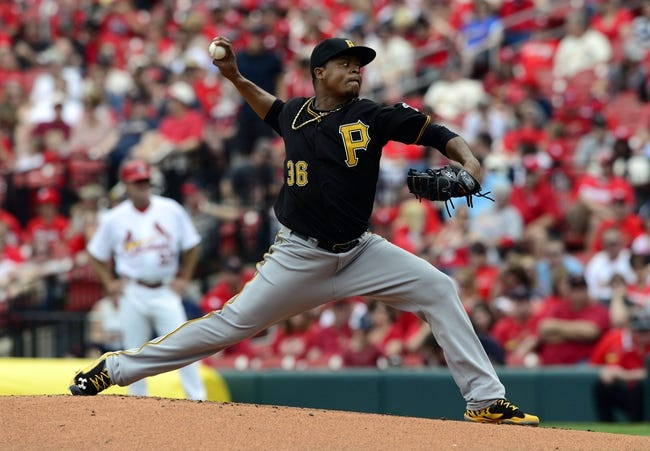 Apr 27, 2014; St. Louis, MO, USA; Pittsburgh Pirates starting pitcher Edinson Volquez (36) throws to a St. Louis Cardinals batter during the first inning at Busch Stadium. Mandatory Credit: Jeff Curry-USA TODAY Sports
