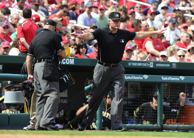 Apr 27, 2014; St. Louis, MO, USA; First Base umpire Ted Barrett (65) at Busch Stadium. St. Louis defeated Pittsburgh 7-0. Mandatory Credit: Jeff Curry-USA TODAY Sports
