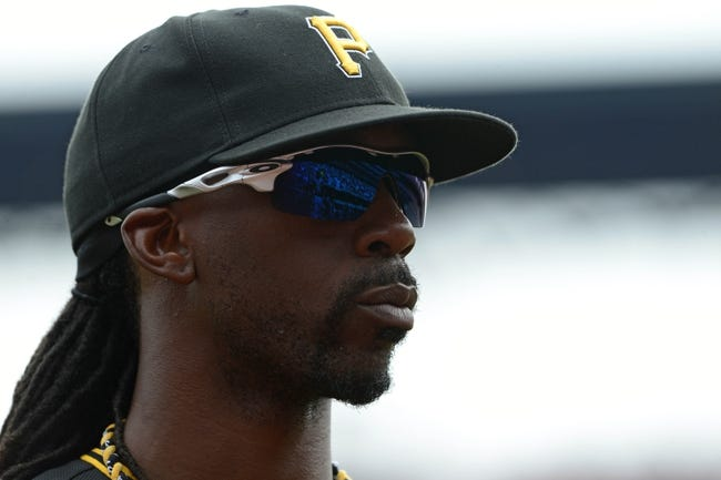 Apr 27, 2014; St. Louis, MO, USA; Pittsburgh Pirates center fielder Andrew McCutchen (22) looks on before a game against the St. Louis Cardinals at Busch Stadium. St. Louis defeated Pittsburgh 7-0. Mandatory Credit: Jeff Curry-USA TODAY Sports