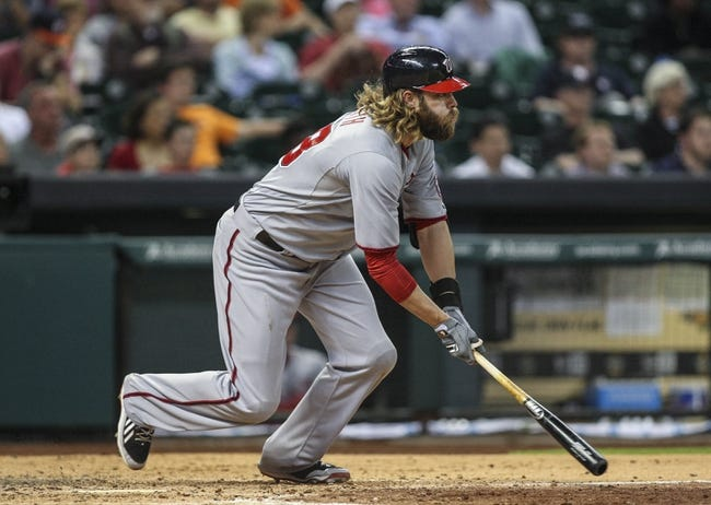Apr 29, 2014; Houston, TX, USA; Washington Nationals designated hitter Jayson Werth (28) gets a single during the eighth inning against the Houston Astros at Minute Maid Park. Mandatory Credit: Troy Taormina-USA TODAY Sports