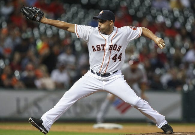 Apr 29, 2014; Houston, TX, USA; Houston Astros relief pitcher Raul Valdes (44) pitches during the eighth inning against the Washington Nationals at Minute Maid Park. Mandatory Credit: Troy Taormina-USA TODAY Sports