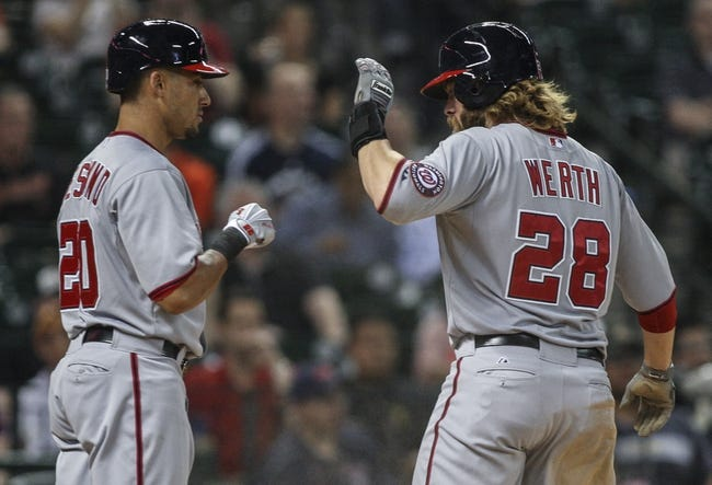 Apr 29, 2014; Houston, TX, USA; Washington Nationals designated hitter Jayson Werth (28) celebrates with shortstop Ian Desmond (20) after scoring a run during the eighth inning against the Houston Astros at Minute Maid Park. Mandatory Credit: Troy Taormina-USA TODAY Sports