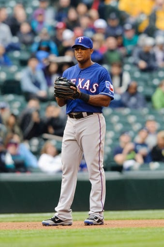 Apr 26, 2014; Seattle, WA, USA; Texas Rangers third baseman Adrian Beltre (29) during the game against the Seattle Mariners at Safeco Field. Texas defeated Seattle 6-3. Mandatory Credit: Steven Bisig-USA TODAY Sports
