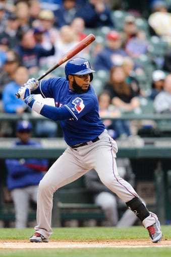 Apr 26, 2014; Seattle, WA, USA; Texas Rangers shortstop Elvis Andrus (1) waits for the pitch during the game against the Seattle Mariners at Safeco Field. Texas defeated Seattle 6-3. Mandatory Credit: Steven Bisig-USA TODAY Sports