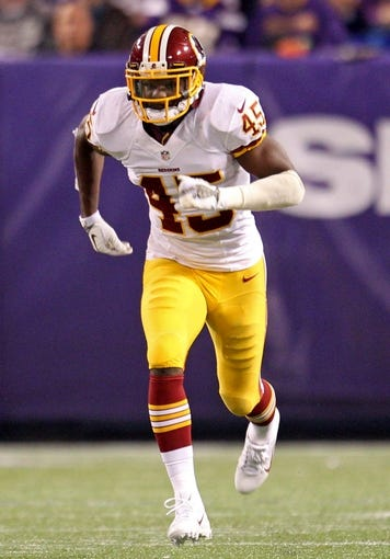 Nov 7, 2013; Minneapolis, MN, USA; Washington Redskins cornerback Jerome Murphy (45) against the Minnesota Vikings at Mall of America Field at H.H.H. Metrodome. The Vikings defeated the Redskins 34-27. Mandatory Credit: Brace Hemmelgarn-USA TODAY Sports