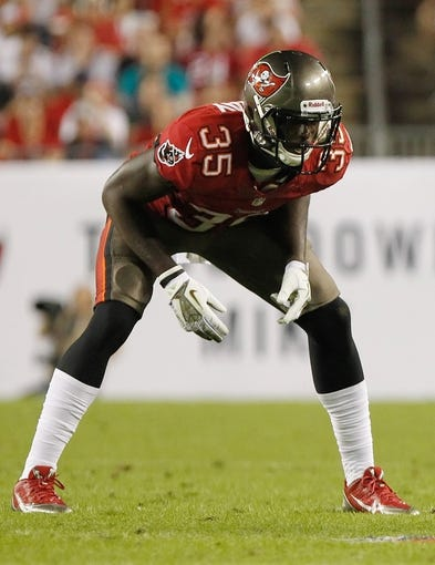 Nov 11, 2013; Tampa, FL, USA; Tampa Bay Buccaneers safety Kelcie McCray (35) against the Miami Dolphins during the second half at Raymond James Stadium. Mandatory Credit: Kim Klement-USA TODAY Sports