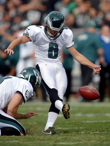 Nov 3, 2013; Oakland, CA, USA; Philadelphia Eagles kicker Alex Henery (6) attempts an extra point against the Oakland Raiders at O.co Coliseum. The Eagles defeated the Raiders 49-20. Mandatory Credit: Kirby Lee-USA TODAY Sports