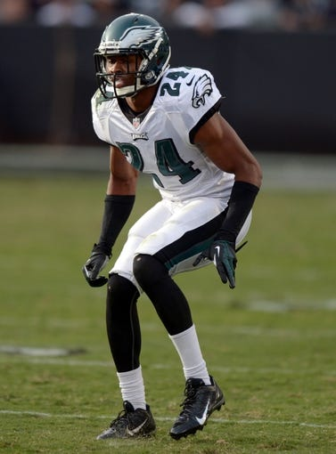 Nov 3, 2013; Oakland, CA, USA; Philadelphia Eagles cornerback Bradley Fletcher (24) during the game against the Oakland Raiders at O.co Coliseum. The Eagles defeated the Raiders 49-20. Mandatory Credit: Kirby Lee-USA TODAY Sports