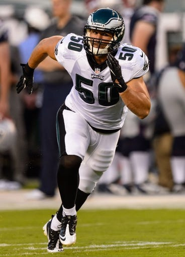 Aug 9, 2013; Philadelphia, PA, USA; Philadelphia Eagles linebacker Casey Matthews (50) during the first quarter against the New England Patriots at Lincoln Financial Field. The Patriots defeated the Eagles 31-22. Mandatory Credit: Howard Smith-USA TODAY Sports