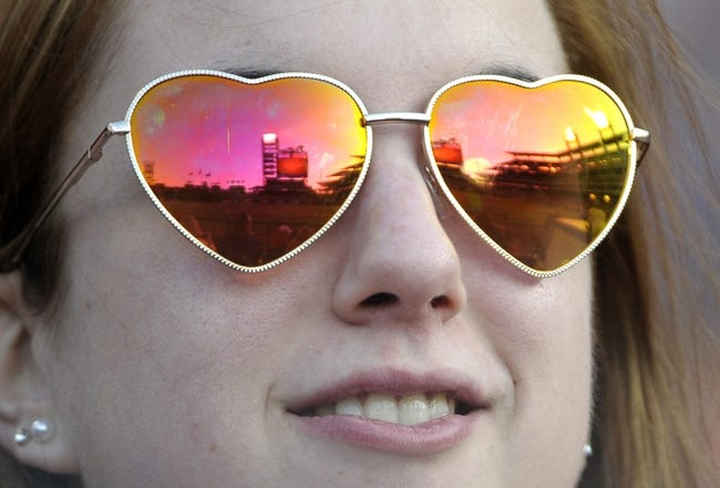 May 2, 2014; Philadelphia, PA, USA; Citizens Bank Park is reflected in a Philadelphia Phillies fan's sunglasses before game against the Washington Nationals at Citizens Bank Park. Mandatory Credit: Eric Hartline-USA TODAY Sports