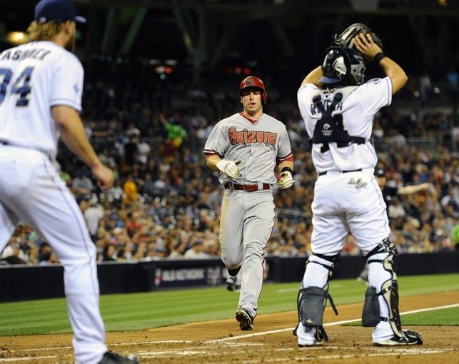 May 2, 2014; San Diego, CA, USA; Arizona Diamondbacks first baseman Paul Goldschmidt (44) scores during the third inning against the San Diego Padres at Petco Park. Mandatory Credit: Christopher Hanewinckel-USA TODAY Sports