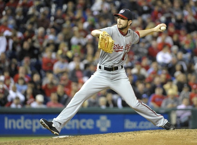 May 2, 2014; Philadelphia, PA, USA; Washington Nationals relief pitcher Jerry Blevins (13) throws a pitch on the seventh inning against the Philadelphia Phillies at Citizens Bank Park. The Nationals defeated the Phillies, 5-3. Mandatory Credit: Eric Hartline-USA TODAY Sports