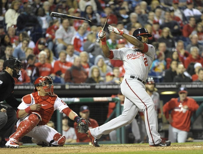 May 2, 2014; Philadelphia, PA, USA; Washington Nationals center fielder Denard Span (2) breaks his bat as he hits a double in the eighth inning against the Philadelphia Phillies at Citizens Bank Park. The Nationals defeated the Phillies, 5-3. Mandatory Credit: Eric Hartline-USA TODAY Sports