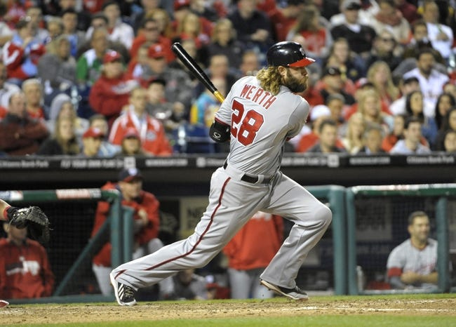 May 2, 2014; Philadelphia, PA, USA; Washington Nationals right fielder Jayson Werth (28) hits an RBI single in the eighth inning against the Philadelphia Phillies at Citizens Bank Park. The Nationals defeated the Phillies, 5-3. Mandatory Credit: Eric Hartline-USA TODAY Sports