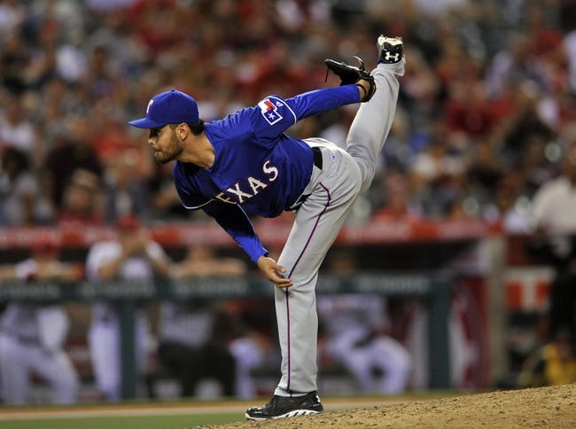 May 2, 2014; Anaheim, CA, USA; Texas Rangers relief pitcher Joakim Soria (28) pitches against the Los Angeles Angels during the ninth inning at Angel Stadium of Anaheim. The Texas Rangers defeated the Los Angeles Angels 5-2. Mandatory Credit: Kelvin Kuo-USA TODAY Sports