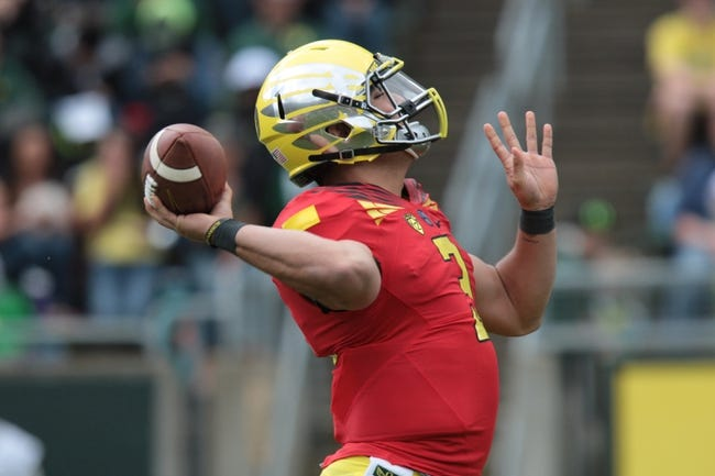 May 3, 2014; Eugene, OR, USA; Oregon Ducks quarterback Jake Rodrigues (3) throws the ball at Autzen Stadium. Mandatory Credit: Scott Olmos-USA TODAY Sports