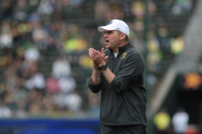 May 3, 2014; Eugene, OR, USA; Oregon Head coach Mark Hilfrich reacts during the Spring Game Autzen Stadium. Mandatory Credit: Scott Olmos-USA TODAY Sports
