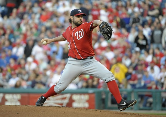 May 3, 2014; Philadelphia, PA, USA; Washington Nationals starting pitcher Tanner Roark (57) throws a pitch during the first inning against the Philadelphia Phillies at Citizens Bank Park. Mandatory Credit: Eric Hartline-USA TODAY Sports