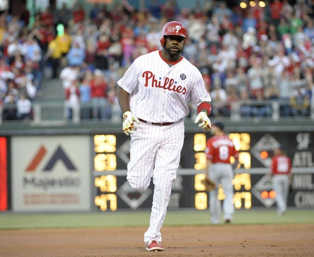 May 3, 2014; Philadelphia, PA, USA; Philadelphia Phillies first baseman Ryan Howard (6) runs the bases after hitting a three run home run in the first inning against the Washington Nationals at Citizens Bank Park. Mandatory Credit: Eric Hartline-USA TODAY Sports