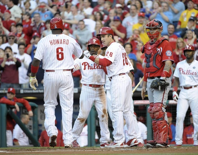 May 3, 2014; Philadelphia, PA, USA; Philadelphia Phillies first baseman Ryan Howard (6) gets congratulations from  second baseman Chase Utley (26) and shortstop Jimmy Rollins (11) after hitting a three run home run in the first inning against the Washington Nationals at Citizens Bank Park. Mandatory Credit: Eric Hartline-USA TODAY Sports
