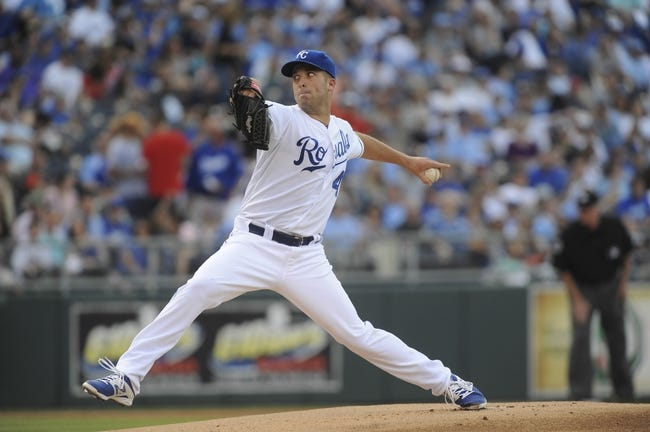 May 3, 2014; Kansas City, MO, USA; Kansas City Royals starting pitcher Danny Duffy (41) delivers a pitch against the Detroit Tigers in the first inning at Kauffman Stadium. Mandatory Credit: John Rieger-USA TODAY Sports