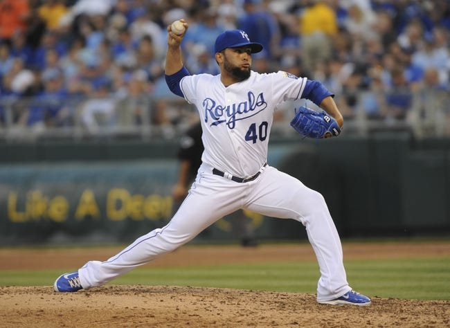 May 3, 2014; Kansas City, MO, USA; Kansas City Royals relief pitcher Kelvin Herrera (40) delivers a pitch against the Detroit Tigers in the sixth inning at Kauffman Stadium. Mandatory Credit: John Rieger-USA TODAY Sports