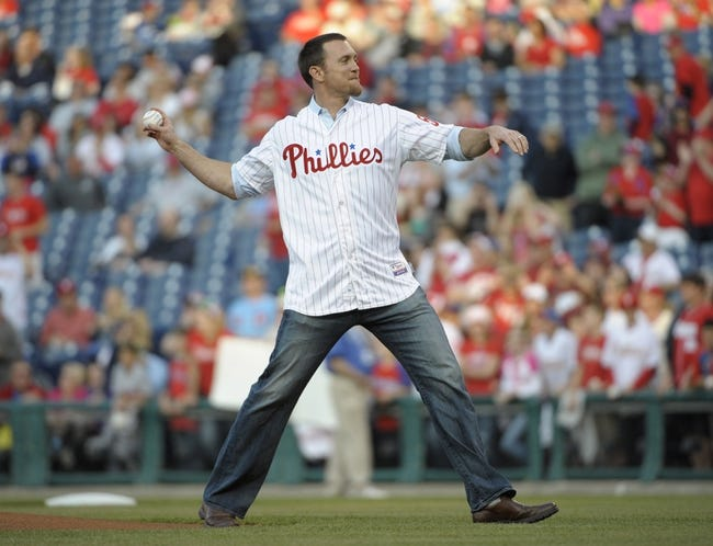 May 3, 2014; Philadelphia, PA, USA; Former Philadelphia Phillies pitcher Brad Lidge throws out the first pitch before game against the Washington Nationals at Citizens Bank Park. Mandatory Credit: Eric Hartline-USA TODAY Sports