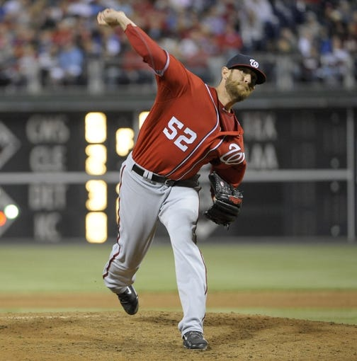 May 3, 2014; Philadelphia, PA, USA; Washington Nationals relief pitcher Ryan Mattheus (52) throws a pitch int he fifth inning against the Philadelphia Phillies at Citizens Bank Park. Mandatory Credit: Eric Hartline-USA TODAY Sports