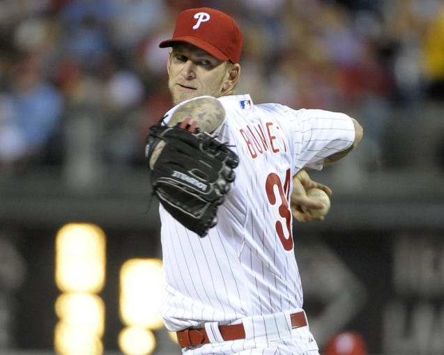 May 3, 2014; Philadelphia, PA, USA; Philadelphia Phillies starting pitcher A.J. Burnett (34) throws a pitch against the Washington Nationals at Citizens Bank Park. Mandatory Credit: Eric Hartline-USA TODAY Sports