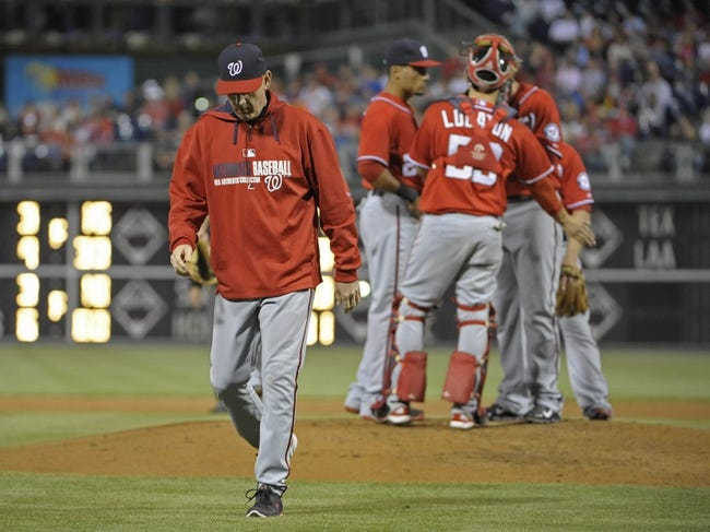 May 3, 2014; Philadelphia, PA, USA; Washington Nationals manager Matt Williams (9) walks off the field a after making a pitching change in the fifth inning against the Philadelphia Phillies at Citizens Bank Park. Mandatory Credit: Eric Hartline-USA TODAY Sports