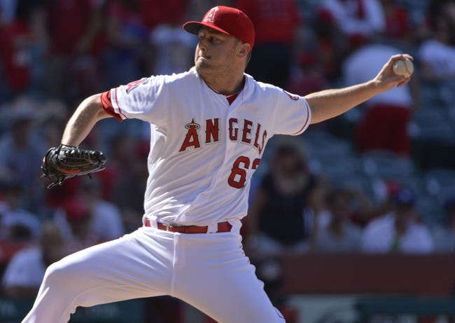 May 4, 2014; Anaheim, CA, USA; Los Angeles Angels relief pitcher Nick Maronde (63) throws against the Texas Rangers at Angel Stadium of Anaheim. The Angels lost 14-3. Mandatory Credit: Robert Hanashiro-USA TODAY Sports