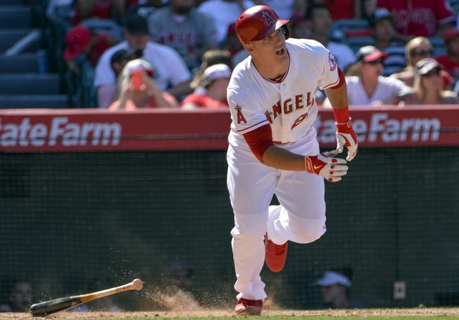 May 4, 2014; Anaheim, CA, USA; Los Angeles Angels outfielder Mike Trout in the 7th inning against the Texas Rangers at Angel Stadium of Anaheim. Mandatory Credit: Robert Hanashiro-USA TODAY Sports