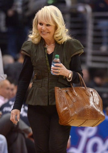 Feb 12, 2014; Los Angeles, CA, USA; Shelly Sterling (Rochelle Sterling) attends the NBA game between the Portland Trail Blazers and the Los Angeles Clippers at Staples Center. Sterling is the wife of Clippers owner Donald Sterling (not pictured). Mandatory Credit: Kirby Lee-USA TODAY Sports