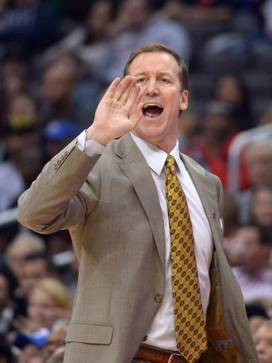 Feb 12, 2014; Los Angeles, CA, USA; Portland Trail Blazers coach Terry Stotts reacts during the game against the Los Angeles Clippers at Staples Center. Mandatory Credit: Kirby Lee-USA TODAY Sports