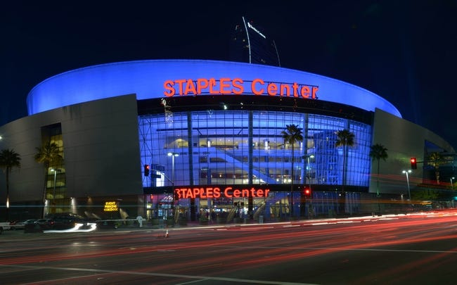 Feb 12, 2014; Los Angeles, CA, USA; General view of the Staples Center exterior before the NBA game between the Portland Trail Blazers and the Los Angeles Clippers. Mandatory Credit: Kirby Lee-USA TODAY Sports