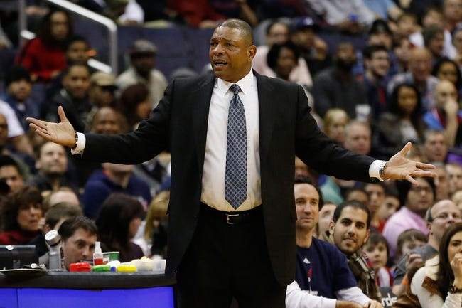 Dec 14, 2013; Washington, DC, USA; Los Angeles Clippers head coach Doc Rivers gestures from the sidelines against the Washington Wizards at Verizon Center. Mandatory Credit: Geoff Burke-USA TODAY Sports