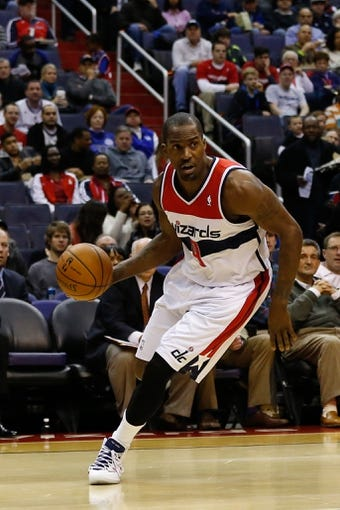 Dec 14, 2013; Washington, DC, USA; Washington Wizards forward Martell Webster (9) dribbles the ball against the Los Angeles Clippers at Verizon Center. Mandatory Credit: Geoff Burke-USA TODAY Sports