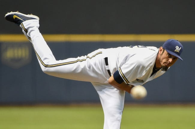 May 5, 2014; Milwaukee, WI, USA;  Milwaukee Brewers pitcher Matt Garza (22) pitches in the first inning against the Arizona Diamondbacks  at Miller Park. Mandatory Credit: Benny Sieu-USA TODAY Sports