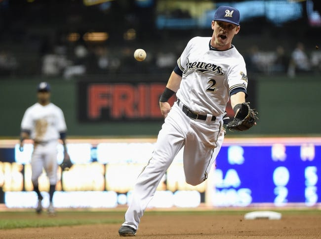 May 5, 2014; Milwaukee, WI, USA;   Milwaukee Brewers second baseman Scooter Gennett (2) flips the ball with his glove hand to get Arizona Diamondbacks center fielder Ender Inciarte (not pictured) out at first base in the sixth inning at Miller Park. Mandatory Credit: Benny Sieu-USA TODAY Sports